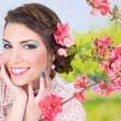 Romantic girl with flowers — Stock Photo
