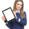 Businesswoman showing blank tablet screen — Stock Photo #26537479