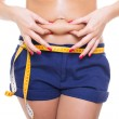 Waist and belly measuring — Stock Photo