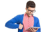 Nervous web designer with tablet pc — Stockfoto