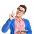 Young hipster man using tablet pointing with finger — Stock Photo #30352433