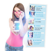 Teenage girl using social network on the phone — Stock Photo