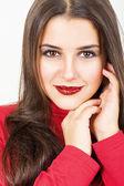 Carina giovane donna con rossetto rosso paillettes — Foto Stock