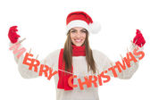 Happy woman with Merry Christmas text decoration — ストック写真