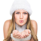 Beautiful teenage girl as winter queen — Stockfoto