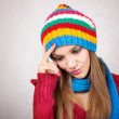 Winter headache and stress — Stock Photo