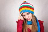 Vintern huvudvärk och stress — Stockfoto