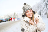 Young woman in ski center park — Stock Photo