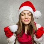 Enjoying Christmas coffee — Stock Photo