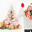 Happy young girl celebrating New Year — Stock Photo