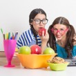 Happy student girls studying together — Stock Photo