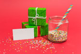 Christmas presents and sweets with a message — Стоковое фото