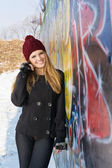 Happy teenage girl outdoors winter portrait — Stock Photo