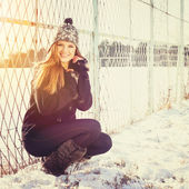 Happy teenage girl outdoors in winter — Stock Photo