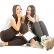 Two teenage girls with tablet having fun — Stock Photo #45370847