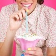 Vintage pin-up young woman with milk shake — Stock Photo #47517129