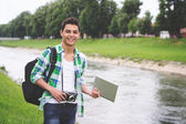 Young hispanic hipster man tourist in Europe — Stockfoto