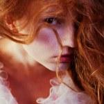 Retro portrait of red-haired queen like girl. studio shot — Stock Photo