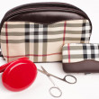 Stock Photo: Beautiful chekered makeup (cosmetics) bag with powder, wallet an