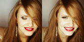 Collage of portraits of fashionable red-haired model laughing at — Stock Photo