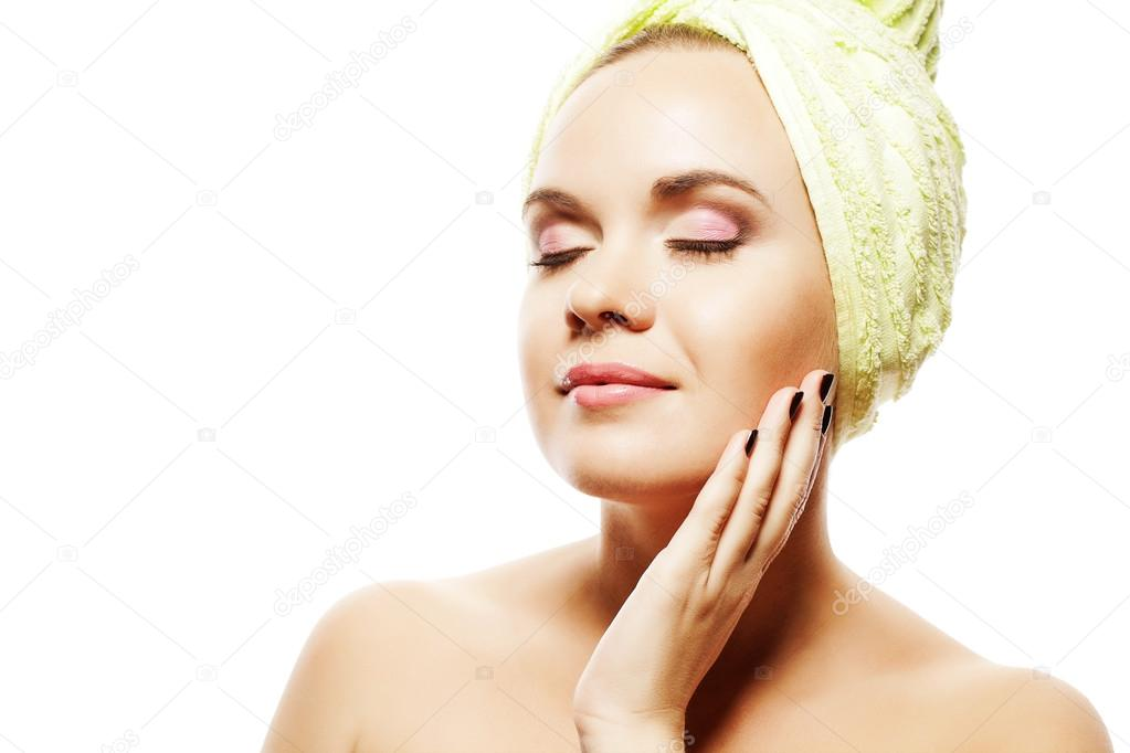 Spa Woman. Beautiful Girl With Ginger Hair With Closed Eyes After Bath Touching Her Face. Perfect Skin. Skincare. Young Skin. Studio Shot  Stock Photo #16261135