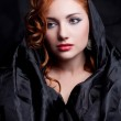 Vintage portrait of a glamourous red-haired queen like girl over — Stock Photo