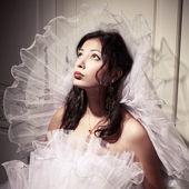 Vintage a-la french princess bride portrait of a beautiful brune — Stock Photo