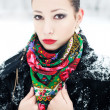 Winter girl in black fur coat with luxury fashion accessories. O — Stock Photo