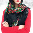 Winter girl in red cardigan with russian kerchief and luxury fas — Stock Photo #19829857