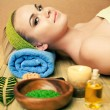 Beautiful young woman at a spa salon. Perfect Skin. Skincare. Yo — Foto de Stock