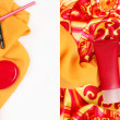 Collage of photos of various cosmetics on a yellow scarf isolate - Stock Photo