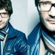 Collage of portraits of a fashionable handsome man in blue jacke — Stock Photo