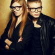 Portrait of gorgeous red-haired fashion twins in black clothes w — Foto de Stock