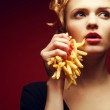 Постер, плакат: Unhealthy eating Junk food concept Portrait of fashionable you