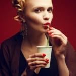 Coffee-break. Portrait of a glamorous movie star in stylish blac — Stock Photo #22854984