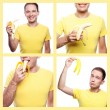 Collage of portraits of happy handsome boy in yellow t-shirt eat — Stock Photo