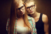 Portrait of gorgeous red-haired (ginger) fashion twins in casual — Stock Photo