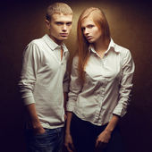 Portrait of two gorgeous red-haired (ginger) fashion twins in wh — Stock Photo