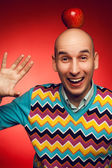 Emotive portrait of a funny and happy student guy laughing, show — Stock Photo