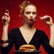 Unhealthy eating. Junk food concept. Portrait of fashionable you — 图库照片
