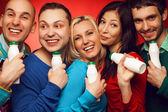Healthcare concept: Portrait of five stylish close friends huggi — Stock Photo