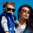 Portrait of fashionable baby boy and his gorgeous mother (hollyw — Stock fotografie