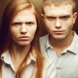 Emotive portrait of angry gorgeous red-haired fashion twins in w — Stock Photo #26701457