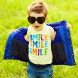 Stylish baby boy with ginger (red) hair in trendy sunglasses (he — Stok fotoğraf