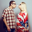 Постер, плакат: Happy pregnancy concept: portrait of two funny hipsters husband