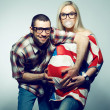 Stock Photo: Happy americfamily (pregnancy) concept: portrait of two funny