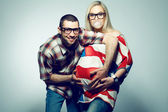 Happy american family (pregnancy) concept: portrait of two funny — Stock Photo
