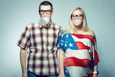 Happy pregnancy concept: portrait of two funny hipsters (husband — Photo