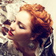 Arty portrait of a fashionable queen-like red-haired (ginger) mo — Stock Photo
