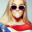 American Mom Concept: Young pregnant woman in american flag like — Stock Photo #27704739